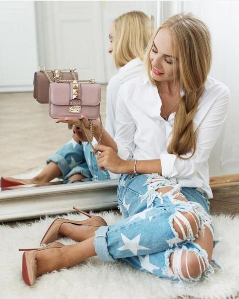 """Women""""s Star Printed Torn Loose Fit Jeans - Savage Garb"""