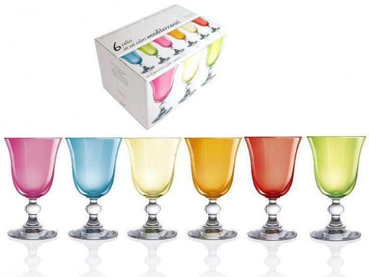 H&H Box 6 In Mediterranean Wine Glass Goblets 15 Glasses And Wine Glasses