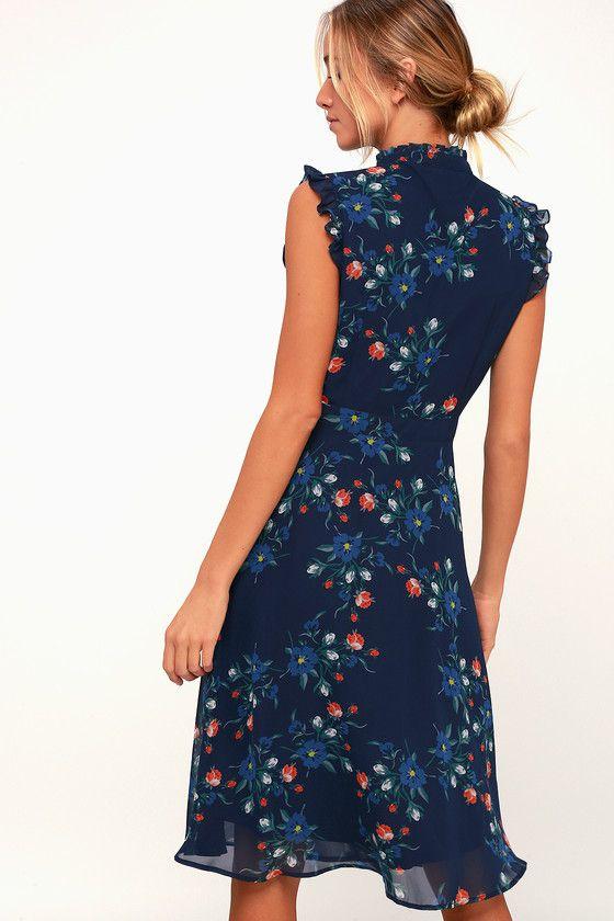 315998f4e4a9a Porch Swing Navy Blue Floral Print Skater Dress en 2019 | vestidos ...