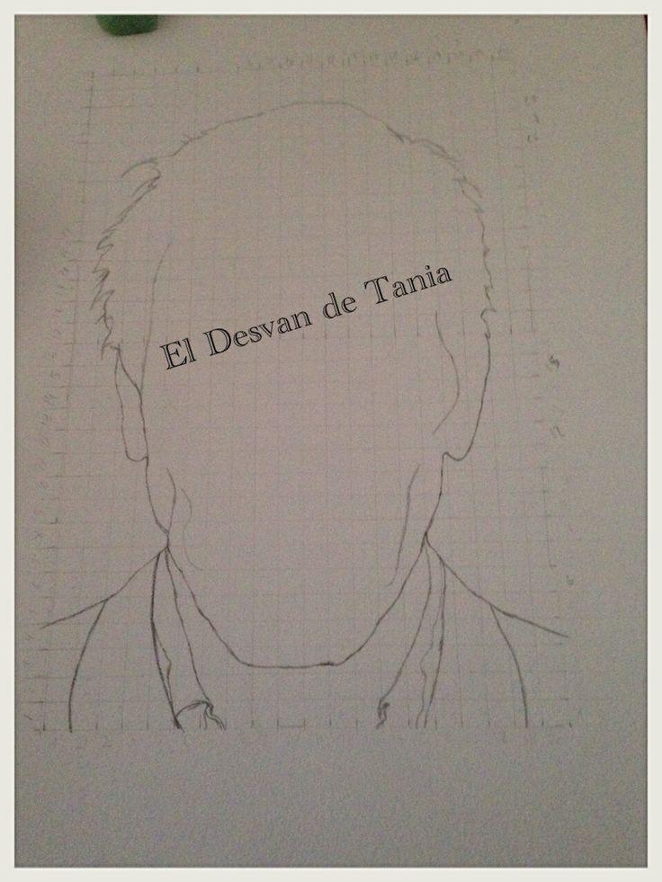 Paso 1 retrato Hugh Laurie a lapiz Eldesvandetania.blogspot.com Facebook: el desvan de Tania  Twitter @El Desván De Tania