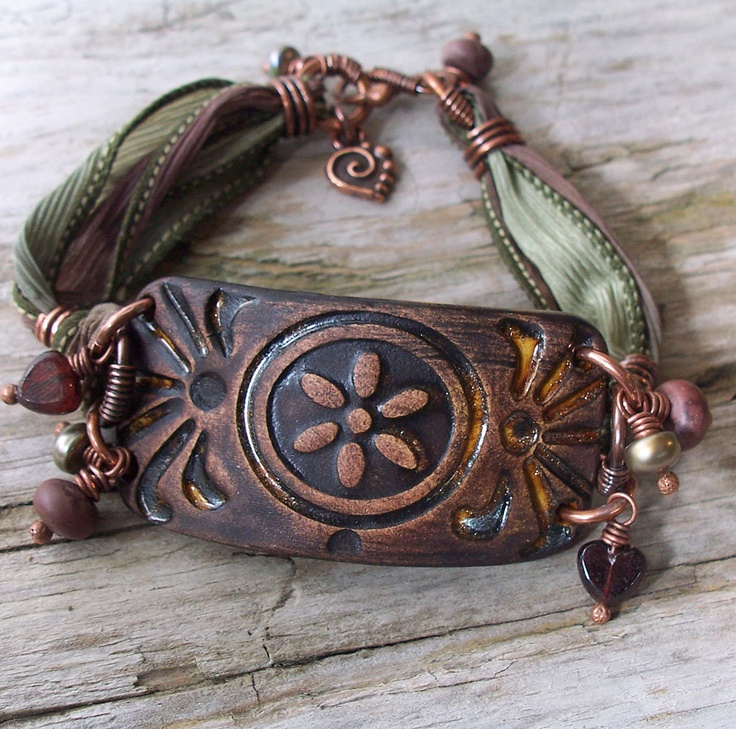 Bracelet Cuff Tooled Ceramic with Antiqued Copper and Silk Ribbon in Mauve and Sage