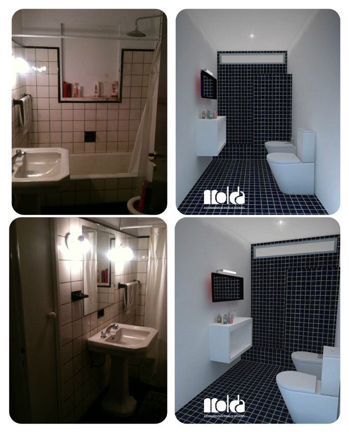 Ba o opci n 3 blanco y negro azulejos de 5x5 cm color - Estanteria encima wc ...