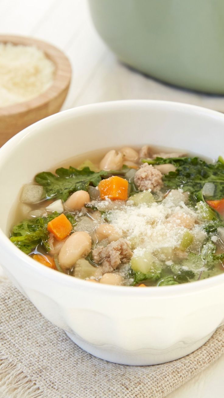 Soup Season! Weeknight Turkey Kale Soup is heavy on veggies, light on prep & perfect for busy nights. Our new Cascadian Farm frozen Mirepoix (organic diced onions, carrots, celery), canned cannellini beans, baby kale & ground turkey make this hearty soup taste like it's simmered for hours, but only takes 35 min!