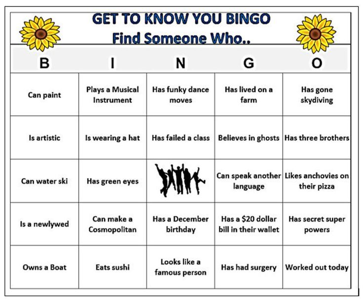 Find someone who mingle bingo game 60 cards fun ice