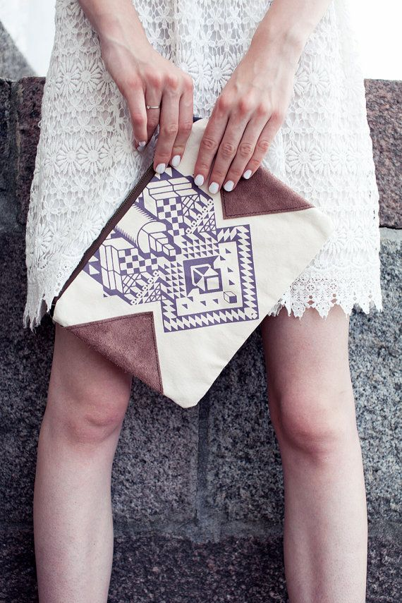 Geometrical Illusion Printed  Leather Pouch  Lavender by CORIUMI, $56.00