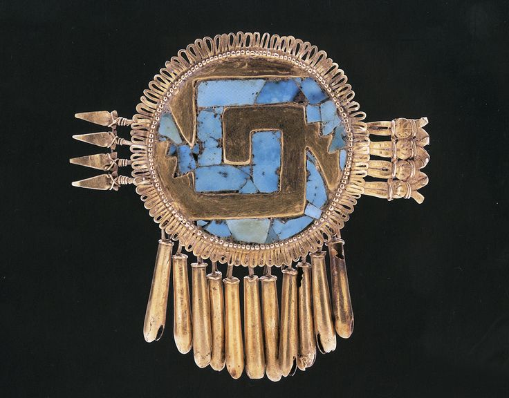 Turquoise and gold pectoral shield, Mixtec Gold Artifacts ...