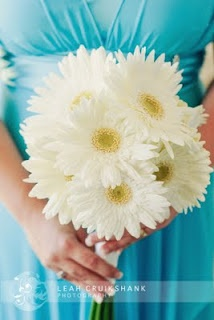Gerbera daisy bouquet with aqua bridesmaid dresses