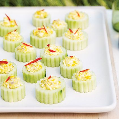 Deviled Cucumber Cups!  Perfect recipe for all those leftover easter eggs!