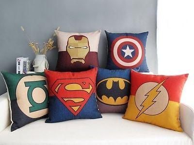 graphic superhero throw pillows