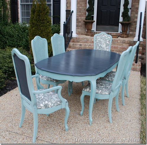 Painted vintage French Thomasville Dining table Painted with  Annie Sloan Chalk Paint Graphite top and base in Duck Egg