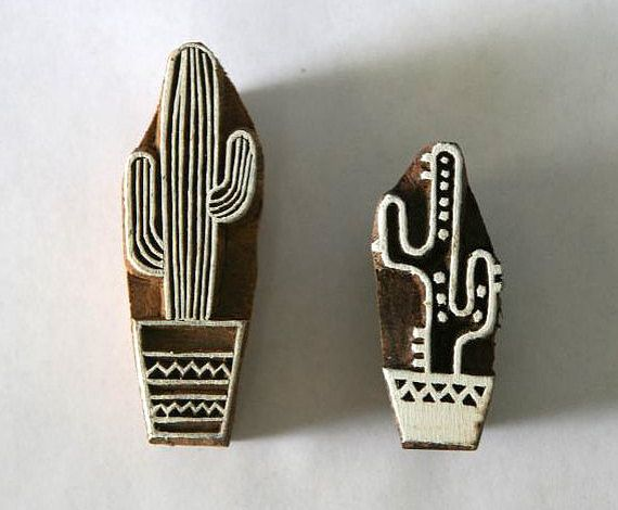 Cactus Stamps - Set of 2 - Use these stylish hand-carved wood block stamps to print on paper, fabric and more. Great for scrap-booking & your