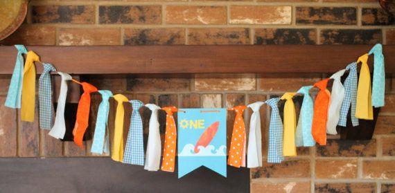 Surf Birthday Banner, Boy Hawaiian Party, Tropical Party, Summer Party, Luau Birthday Party, Boy Luau Party, Orange Blue Birthday Party