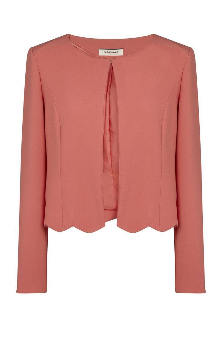 Naf naf veste de tailleur courte à ourlet festonné flamingo 3