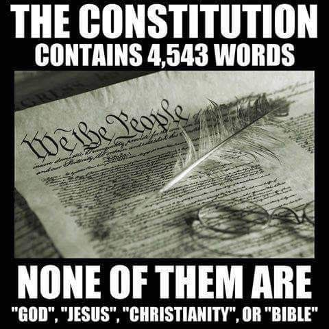No mention of Christianity, Jesus, the Holy Bible or etc in the United States Constitution.