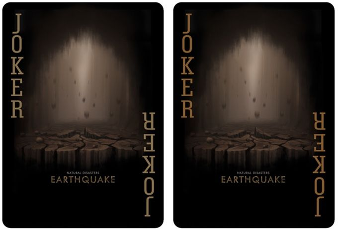 "Bicycle Natural Disasters ""Earthquake"" Playing Cards by Collectable Playing Cards. Jokers details. Printed by USPC under the Bicycle brand."