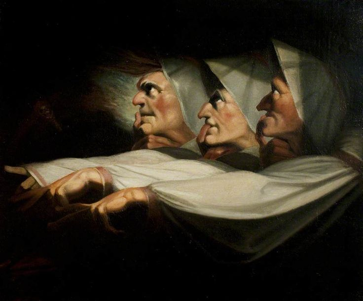 'Macbeth', Act I, Scene 3, the Weird Sisters  One of the great Fuseli paintings of Shakespeare scenes - you can see a lot more at the great resource that is 'Your Paintings':   http://www.bbc.co.uk/arts/yourpaintings/paintings/search/painted_by/henry-fuseli