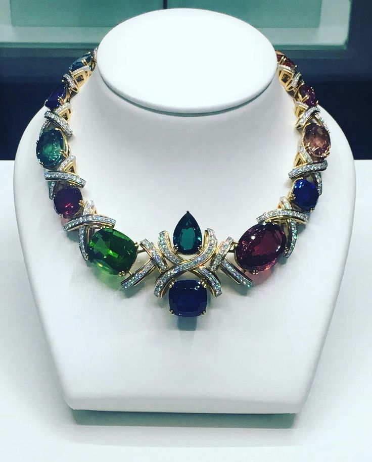 @tiffanyandco.  A colorful display of over 416 carats of gorgeous color stones commemorate Paloma Picasso's 35 years of amazing creativity as a Tiffany designer.