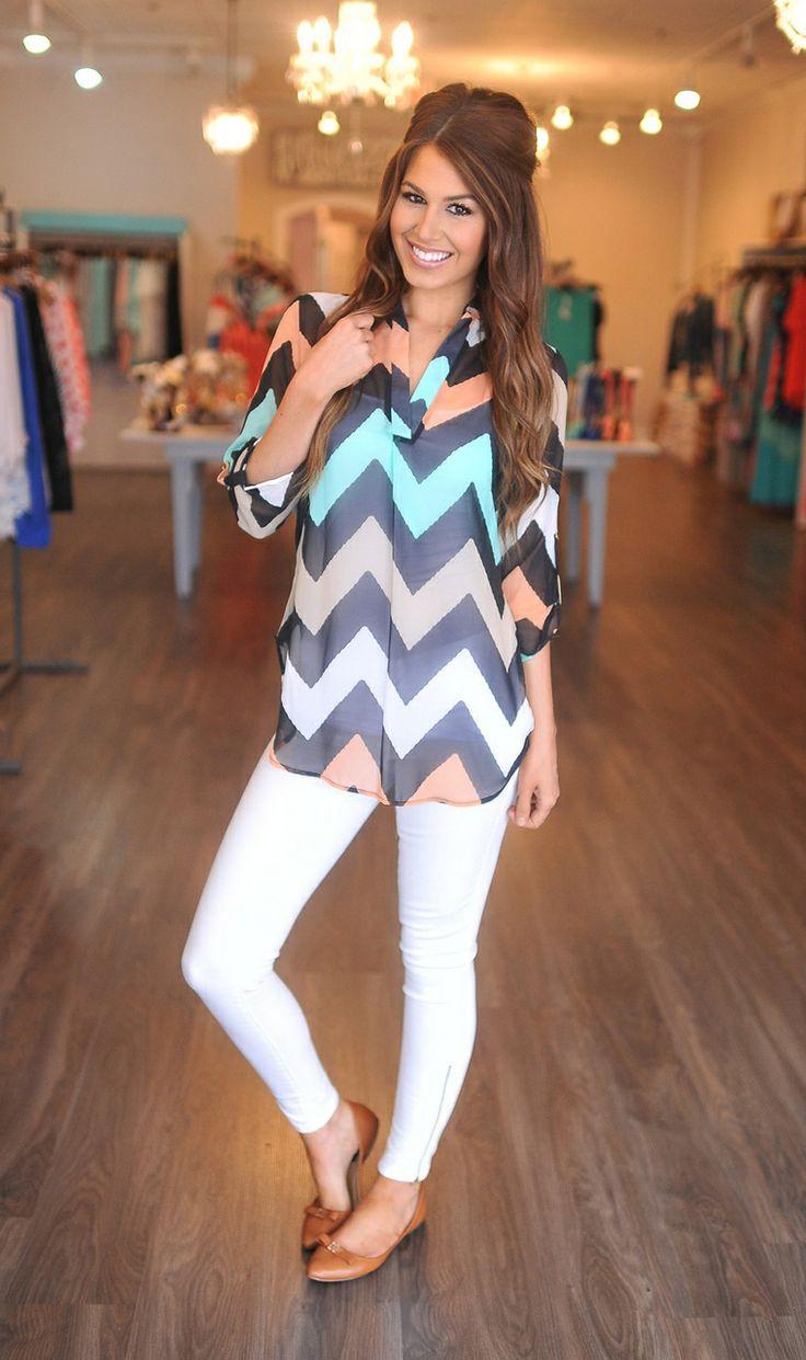 Dottie Couture Boutique - Pastel Chevron Blouse, $49.00 (http://www.dottiecouture.com/pastel-chevron-blouse/)