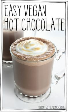 Easy Vegan Hot Chocolate with toasted marshmallow fluff! Yes please! This dairy-free treat whips up in just 15 minutes for the perfect winter holiday treat.