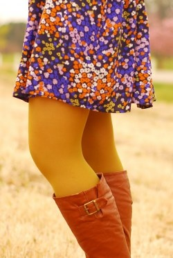 I have that dress, Forever 21.  And I have boots like that from Wet Seal...Now all I need is the mustard tights...