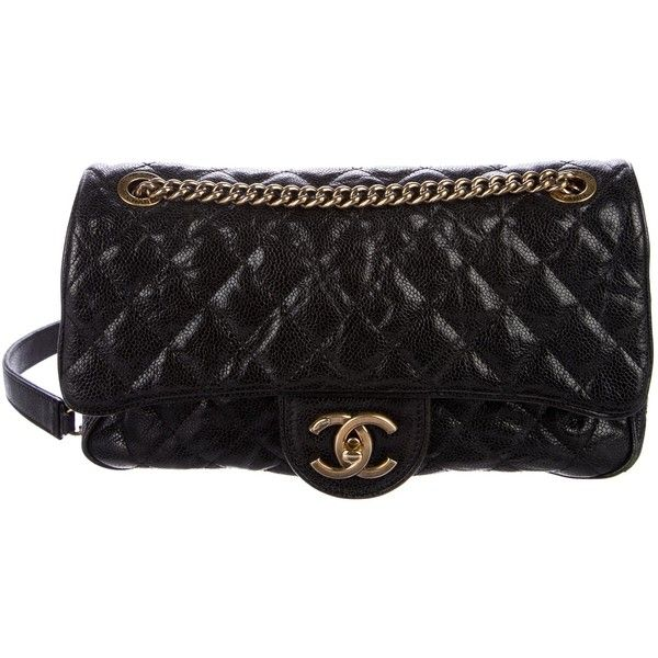 Pre-owned Chanel Chic Caviar Camera Flap Bag (6.785 BRL) ❤ liked on Polyvore featuring bags, handbags, shoulder bags, black, chanel purse, handbag purse, hand bags, leather man bags and quilted leather shoulder bag