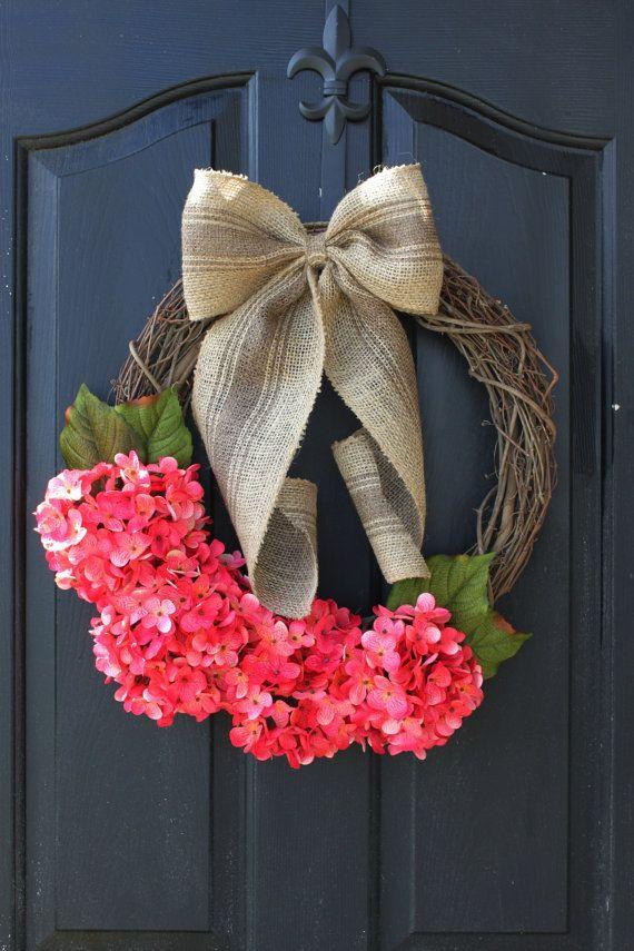 Summer wreath Burlap Wreath  Hydrangea Wreath  by OurSentiments, $78.00