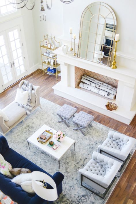Rach Parcell of Pink Peonies's beautiful Living Room, via @sarahsarna.