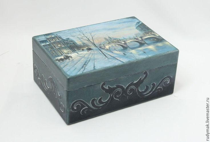 Купить Шкатулка ЗИМНИЙ ПАРИЖ - серебряный, кобальтовый, серый, романтический…