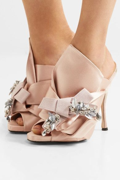 Heel measures approximately 110mm/ 4.5 inches Blush satin Slip on Made in Italy