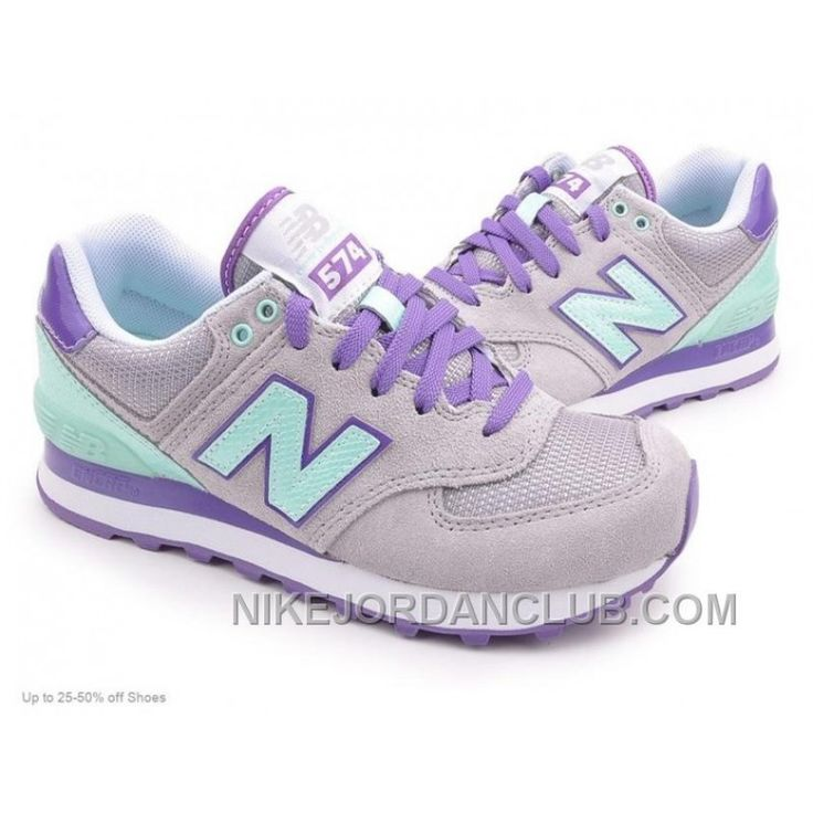 New Balance Women's Outdoor Shoes 574 Grey Purple Mint Copuon Code