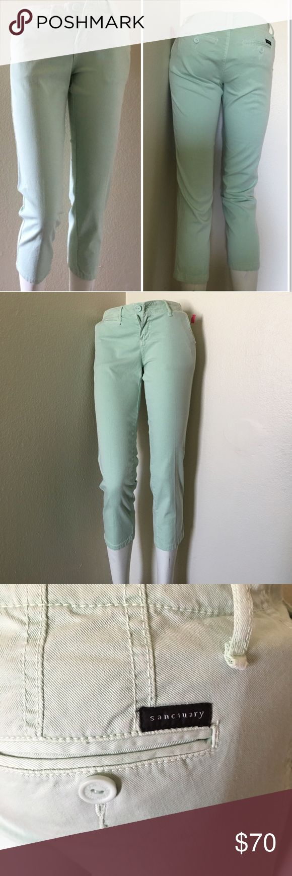 "Sanctuary Clothing Mint Capri Size 24J NWT. Mint color. 98% cotton, 2% spandex. Approx. measurements: Waist measured across 14.5""; Rise 8""; Inseam 24""; Length 32"". Size 24. Sanctuary Pants Capris"