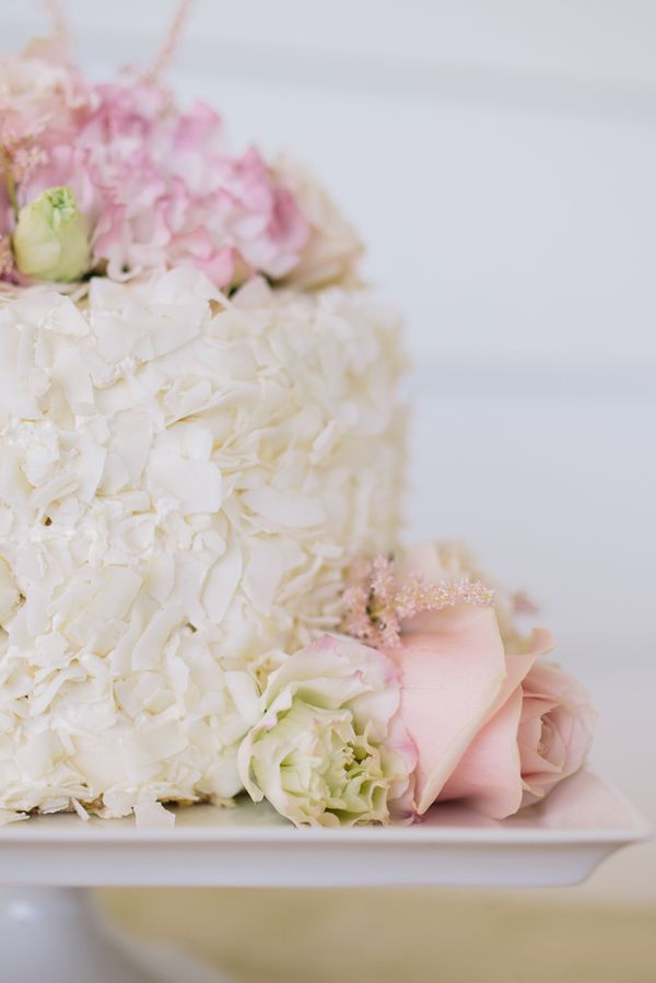 Petite Wedding Cake with Coconut and Blush Flowers   Lisa Mallory Photography   Preppy Southern Charm Wedding in Blue, Blush, and Gold