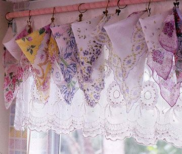 Frilly No-Sew Valances ~ Show off a collection of old-fashioned handkerchiefs by clipping them onto a curtain rod covered with a fabric sleeve or a ribbon wrap