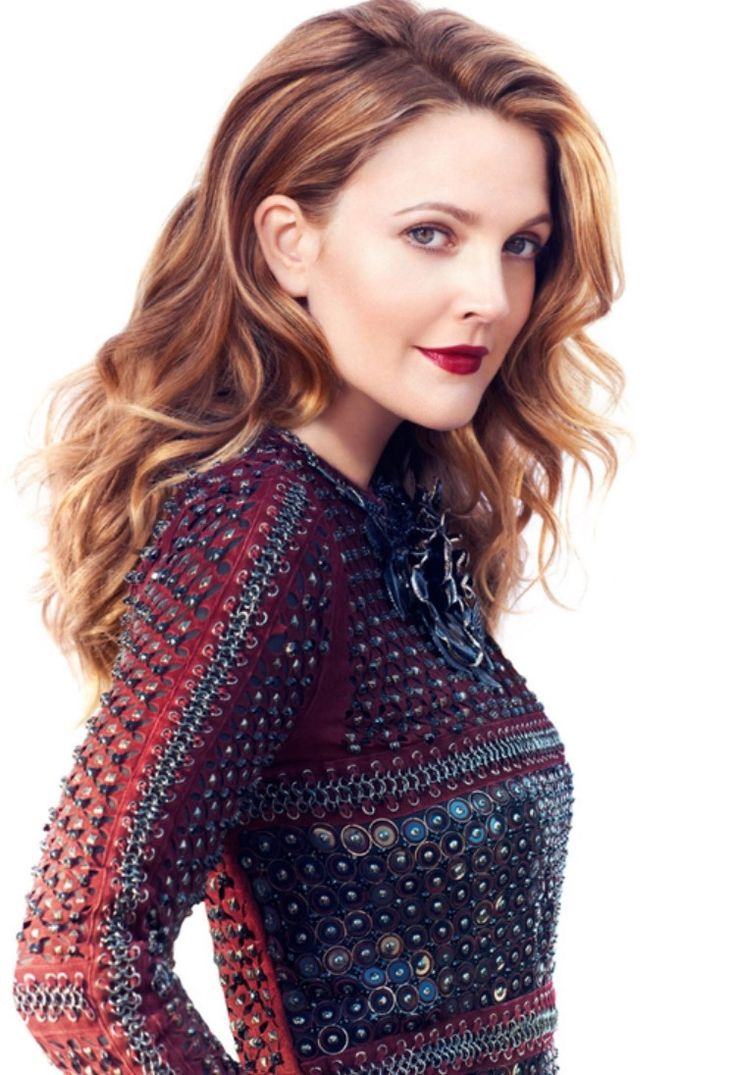 Drew Barrymore with a pretty intricate blouse. Oconnors.ca