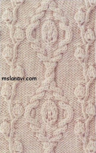 A stunning leafy cable and lace panel. Charted.