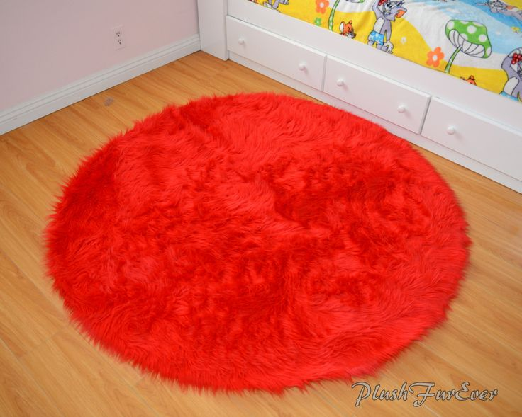 Red Round Small Area Rug
