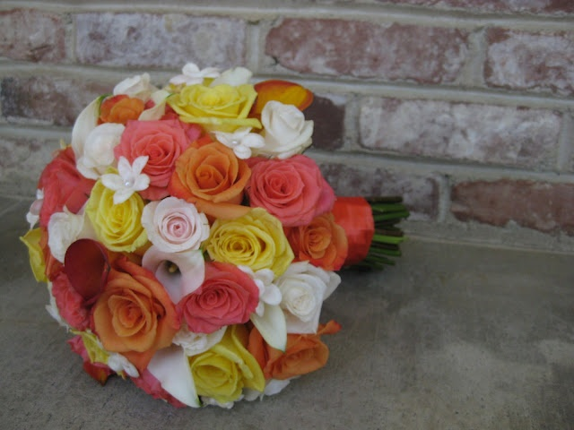 Coral, orange & yellow wedding
