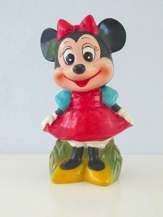 Vintage Bank Minnie Mouse Painted Plaster Paper Mache Walt