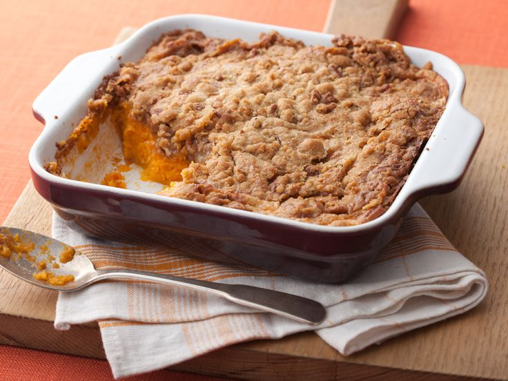 Aunt Peggy's Sweet Potato Souffle.  This is a Paula Deen recipe.  I made this for Thanksgiving and it's delicious - but definitely a treat food, because it's pretty rich!