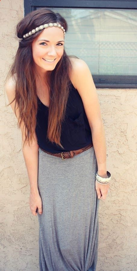 Pearl headband, black top, braided leather belt and grey maxi skirt