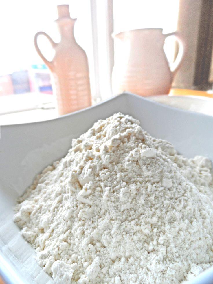 Make your own self-raising flour with plain flour, bicarbonate of soda and salt.