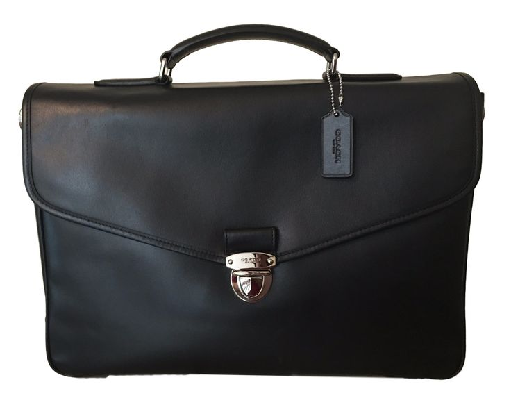 COACH Flap Briefcase in Refined Calf Leather in Silver / Black 72070