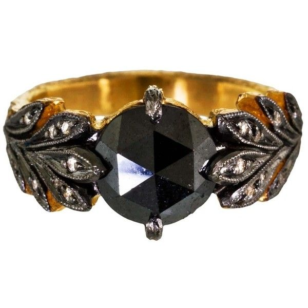 Cathy Waterman Black Diamond Leaf Side Ring (€4.780) ❤ liked on Polyvore featuring jewelry, rings, leaf ring, black diamond ring, cathy waterman rings, cathy waterman jewelry and leaf design rings
