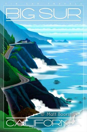 Vintage Travel Poster  - Big Sur  - California.