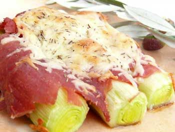 Serrano Ham and Baked Leeks - Tapas Recipes from Orce