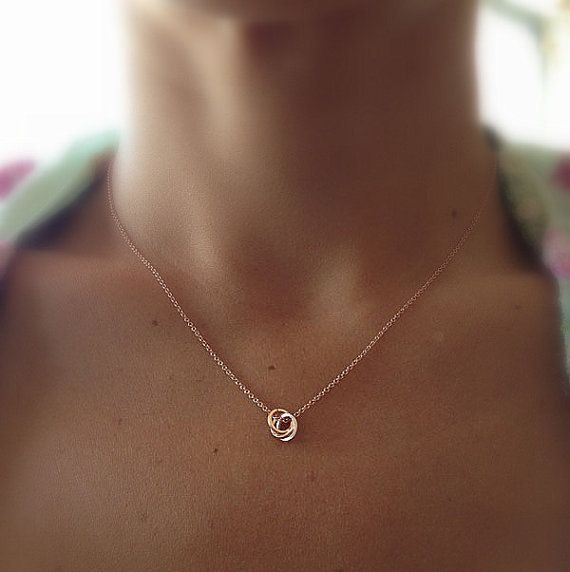 Tiny Infinity Ring Necklace - Delicate Rose Gold Necklace - Tiny Circles - Gold Dot - Love Knot - Tie The Knot Necklace - Mothers Day on Etsy, $29.00