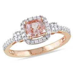 5.0mm Cushion-Cut Morganite and 0.20 CT. T.W. Diamond Ring in 10K Rose Gold  - Peoples Jewellers