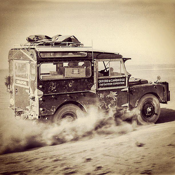 Land Rover Defender in speed. Oxford and Cambridge Far Eastern Expedition.