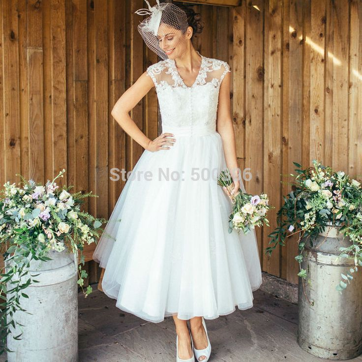 Cheap dresses and gowns, Buy Quality gown party dress directly from China gown wedding dress Suppliers:     Elegant Short Cap Sleeves Short Wedding Dress 2016 V neck Tea Length Lace Appliques Bridal Wedding Gowns vestido de