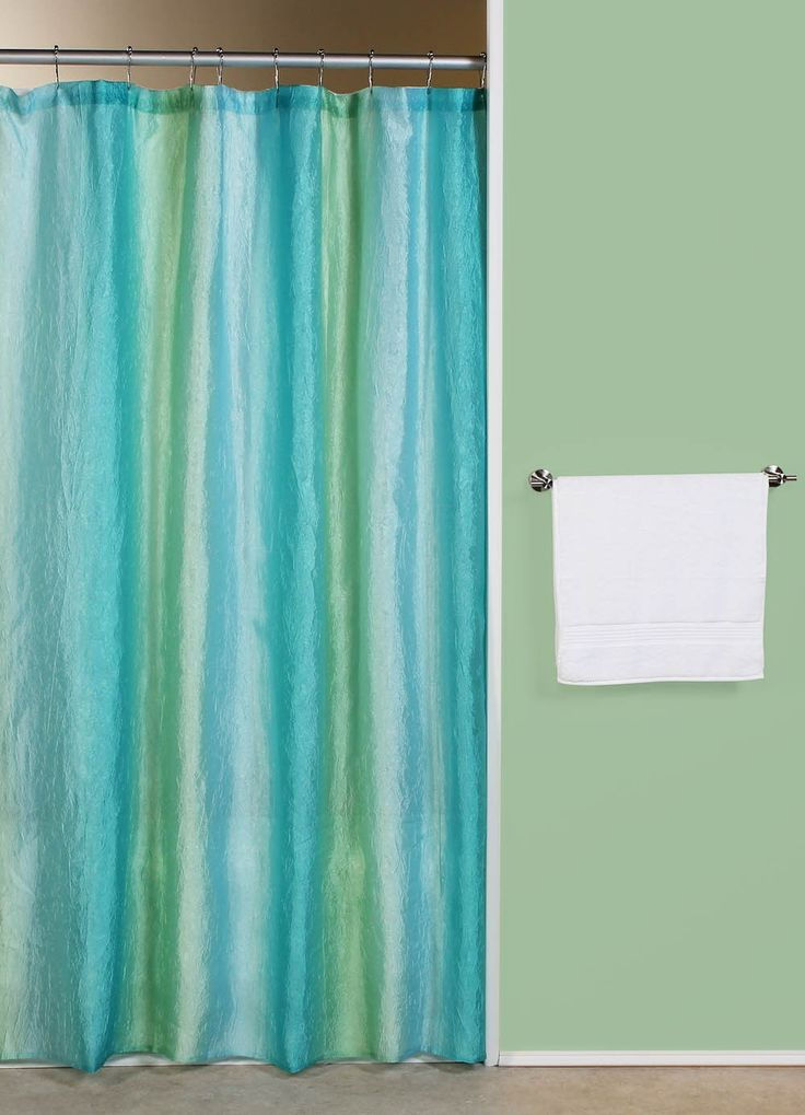 Curtain bath outlet ombre blue green fabric shower for Blue green bathroom ideas